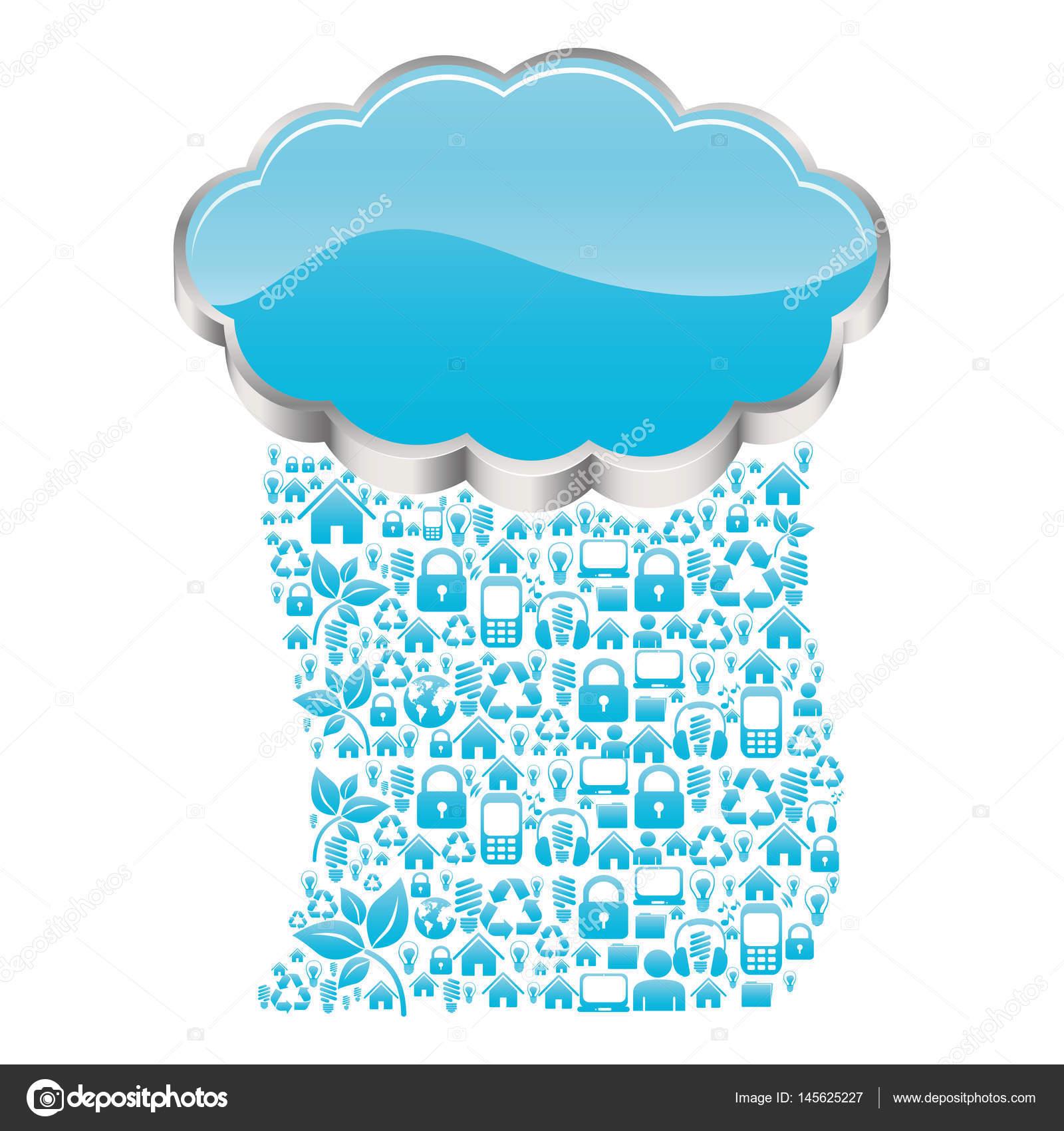 逼真的 3d 形状云存储与雨模式科技设备矢量图– 图库插图