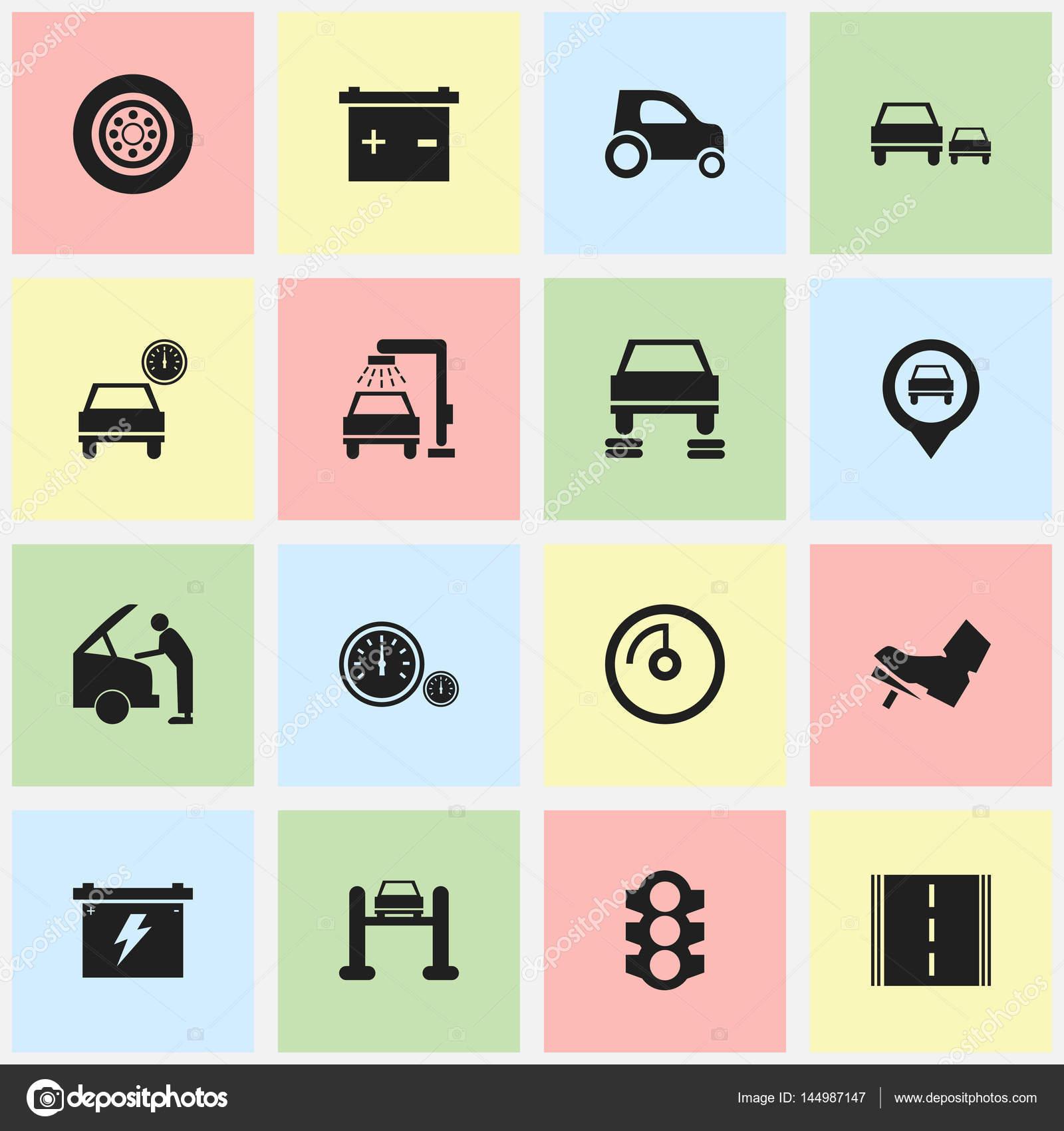 16 可编辑运输图标集.包括种族, 轮胎, 汽车修理等符号.