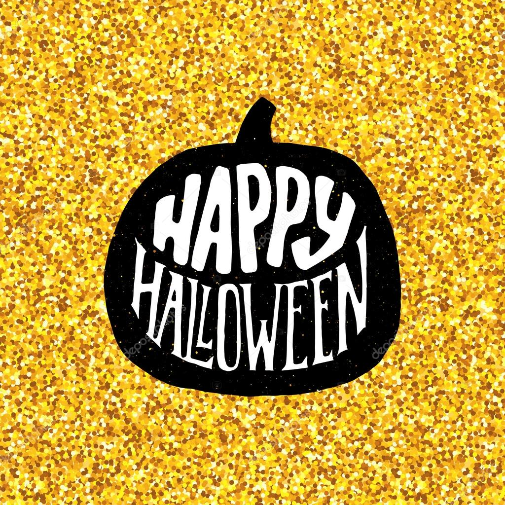 Mutlu Cadılar Bayramı partisi afiş altın tipografi ile — Stok ...