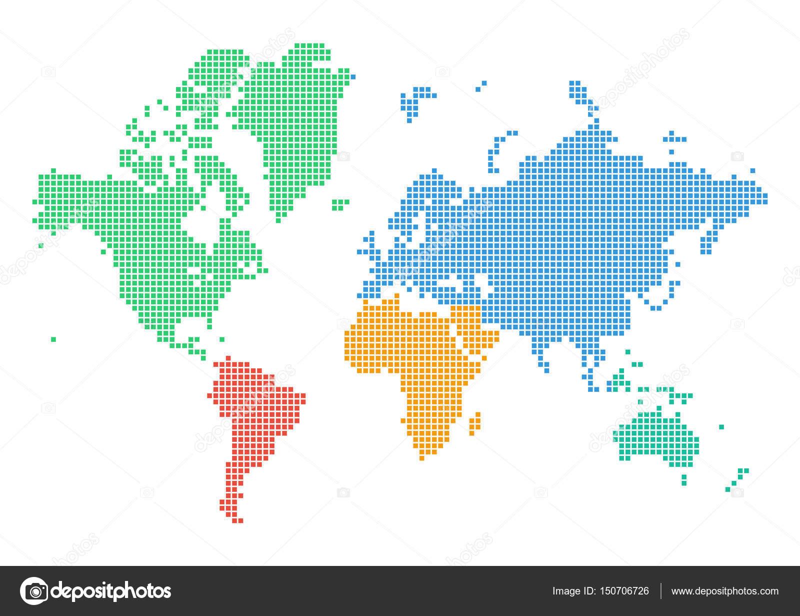 色彩缤纷的虚线的世界地图的大洲 — 图库矢量图片#150706726