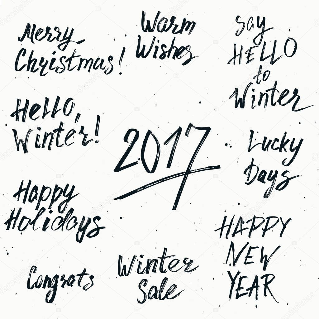 happy new year 2017 and merry christmas holiday printable happy new year 2017 and merry christmas holiday printable templates set vector hand drawn marker
