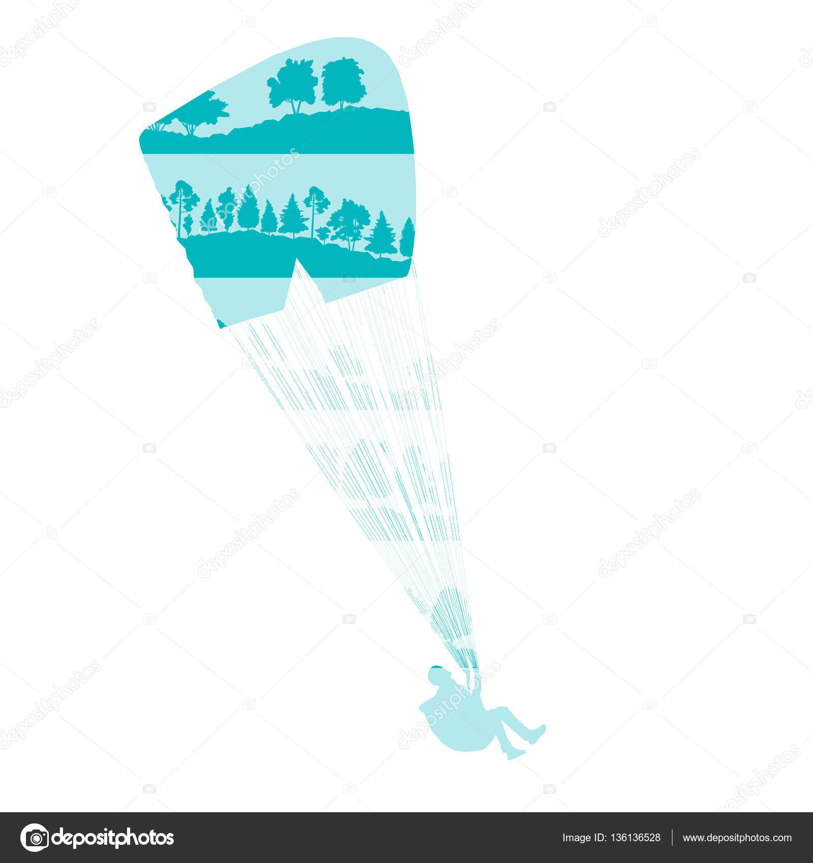 Paraglider vector background concept made of forest trees fragme — Stock Vector #136136528