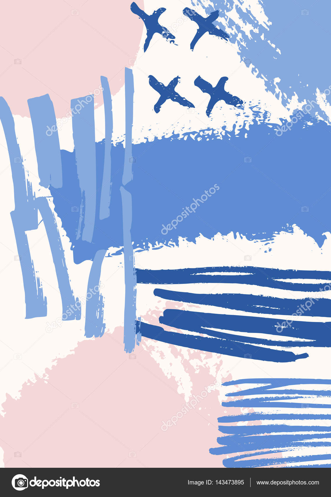 手绘抽象成分在蓝色, 紫色, 柔和的粉红色.