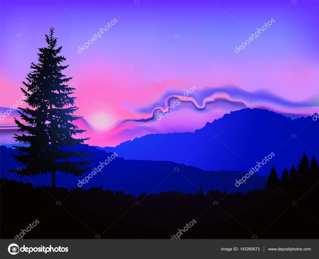 北美的景观.山和抽象的天空背景上的针叶树的轮廓.粉色和蓝色的色调.