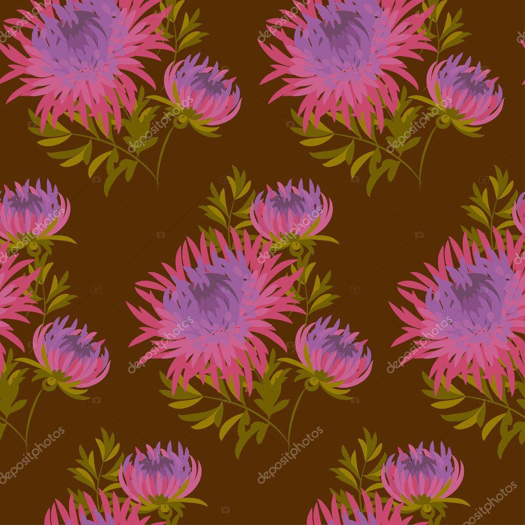 Pink floral seamless vector background floral hrysanthemum seamless - Fall Flower Seamless Pattern Pink Chrysanthemum Repeatable Motif Autumn Purple Flower Vector Illustration Elegant Natural Ornament On Darck Brown