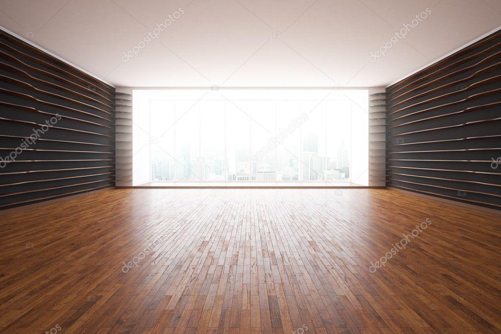 현대 인테리어 꽃무늬 벽, 나무 바닥 및 도시 전망 층-투-천장 ...