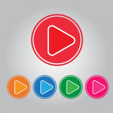 Vector button video play and audio