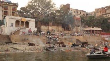 Temple at Varanasi ghat  Ganges River