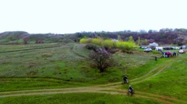 Bicycle race on the mountain. View quadrocopter