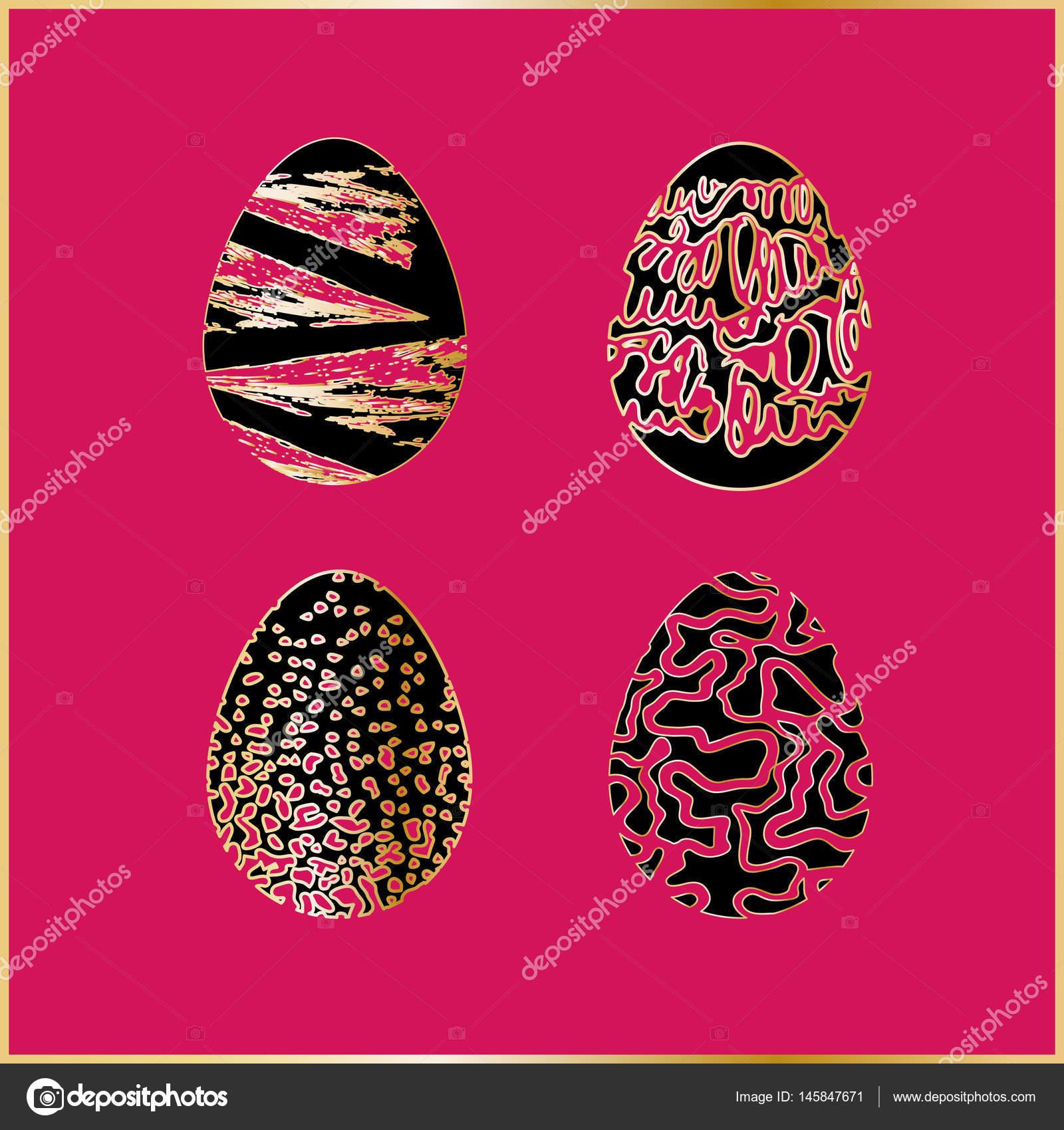 组的四个黑色复活节彩蛋与孤立在明亮的背景上有金色的花纹— vector