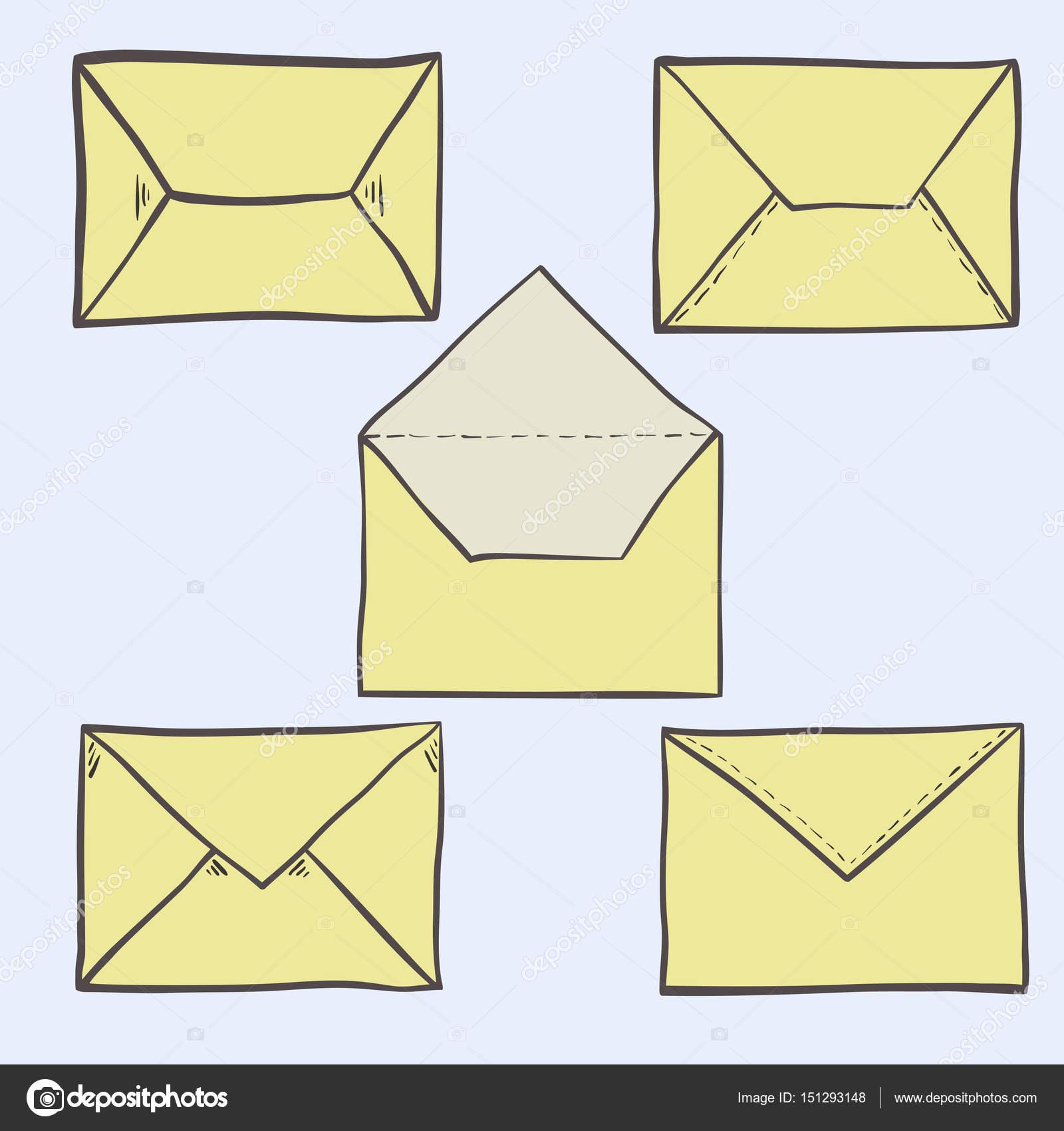 组可爱手绘信封,邮政和邮件图标— vector by tatahnka23