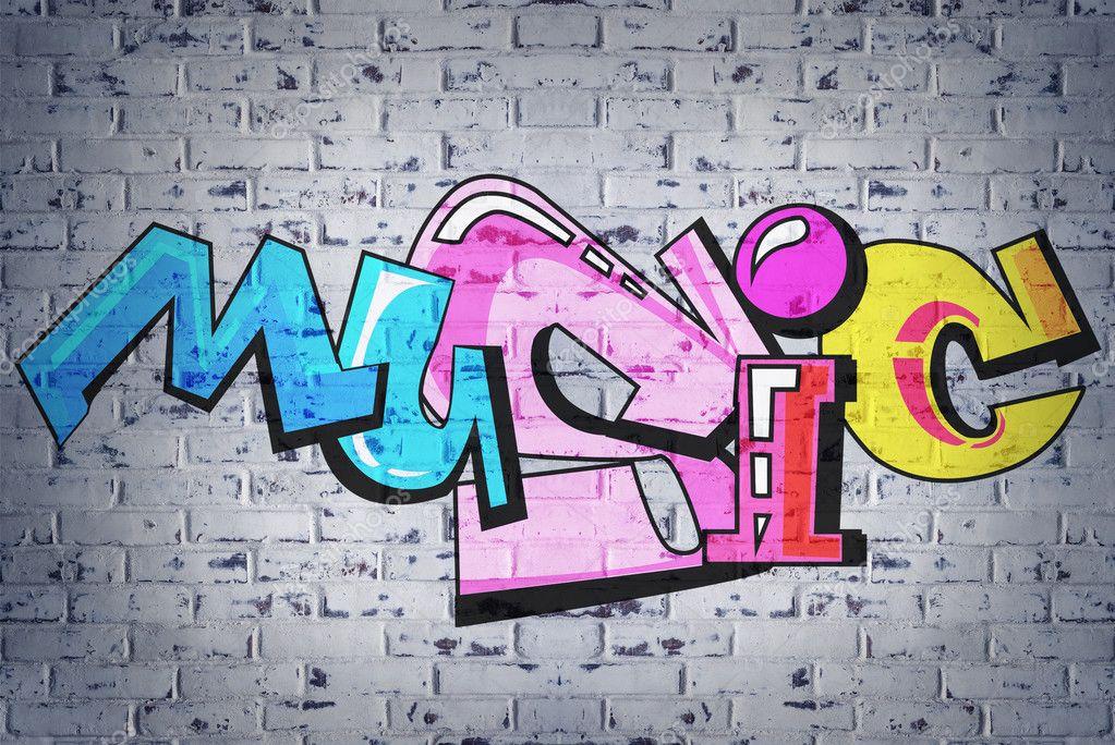 colorful word music on brick wall background graffiti