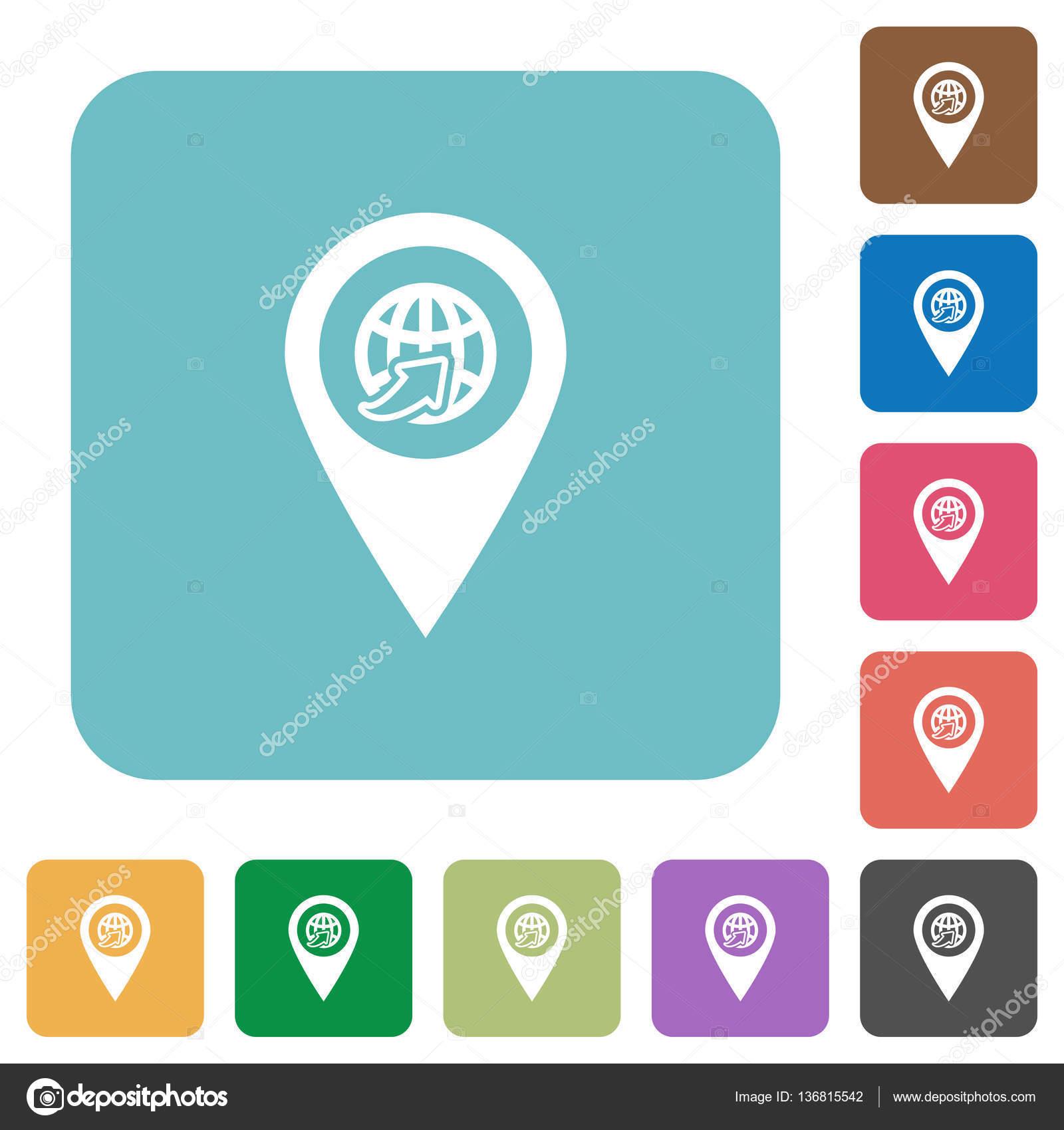 国际航线 gps 地图位置圆形方形扁 ico — 图库矢量