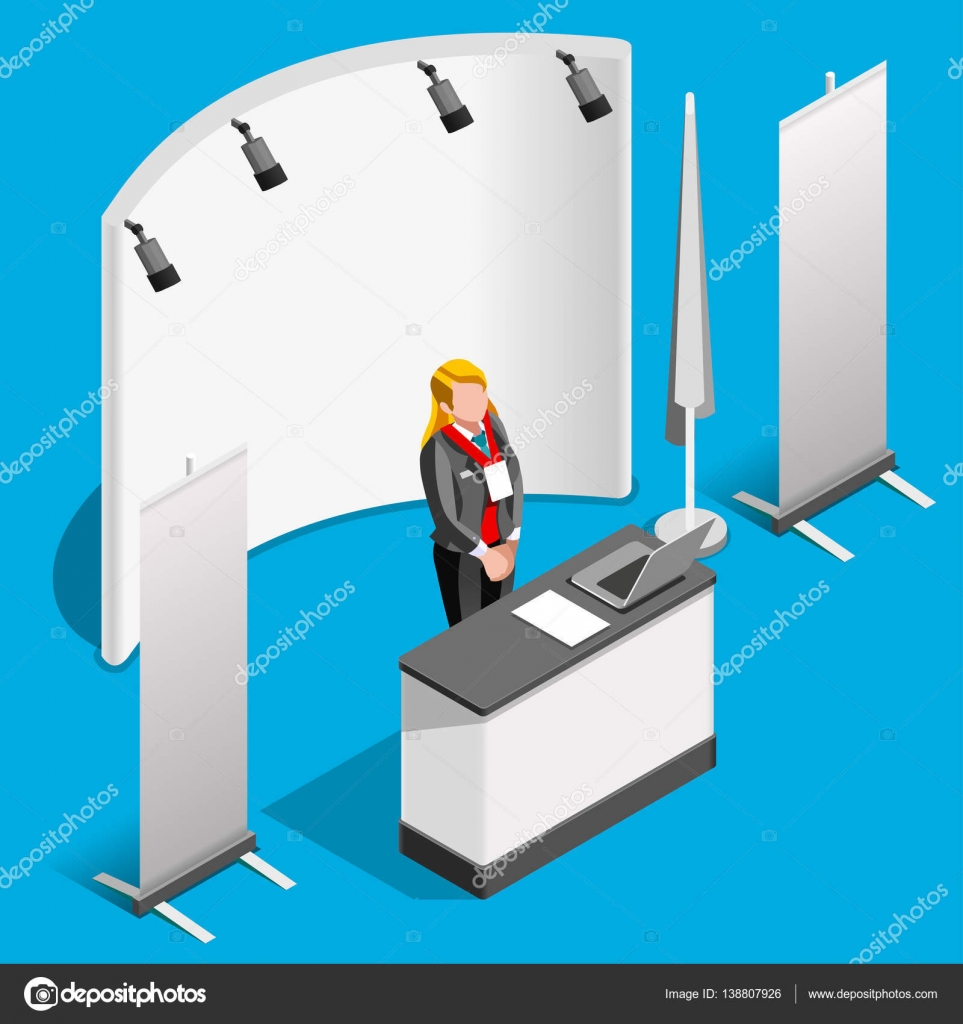 Exhibition Booth Vector : Booth stand d exhibition isometric people vector