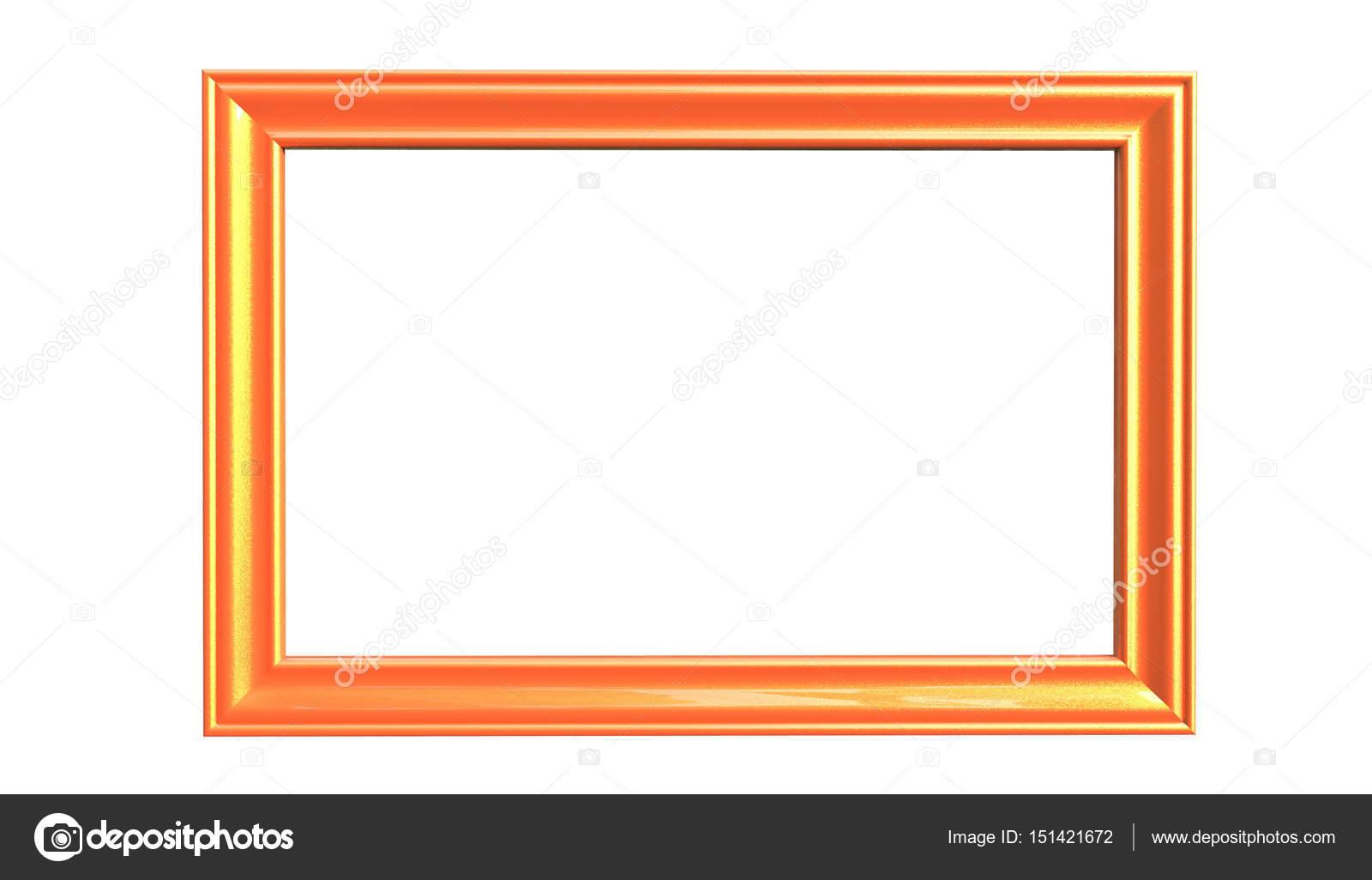 3d 渲染的现代独立的悬挂的橘黄色相框– 图库图片