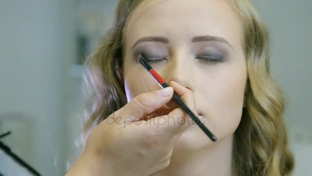 Professional eye makeup application