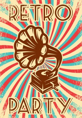 Vector vintage advertising poster with gramophone for the party