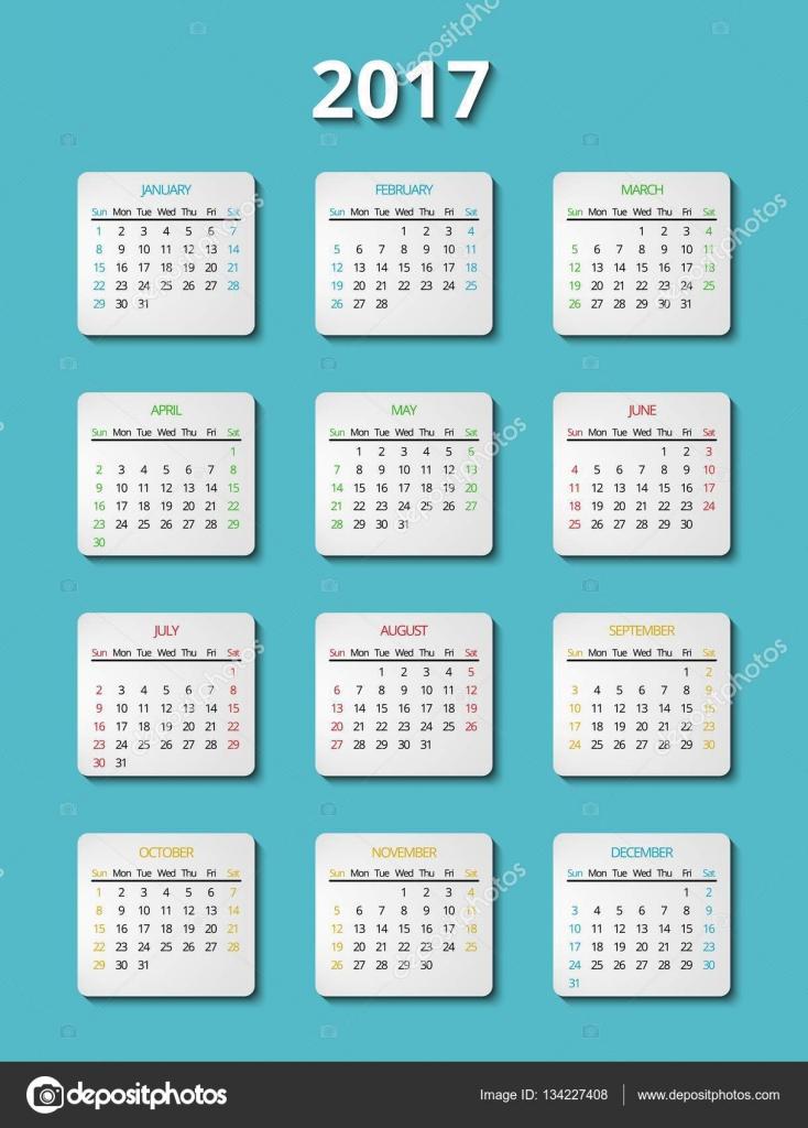 ベクトル 2017年カレンダー テンプレートです。プランナーの月– ストックイラスト