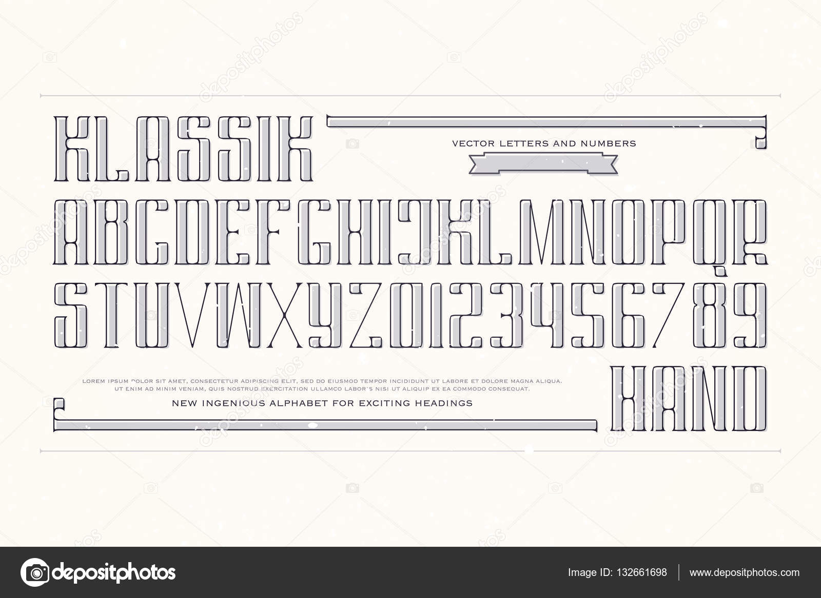 Vintage alphabet letters and numbers. vector font type design ...