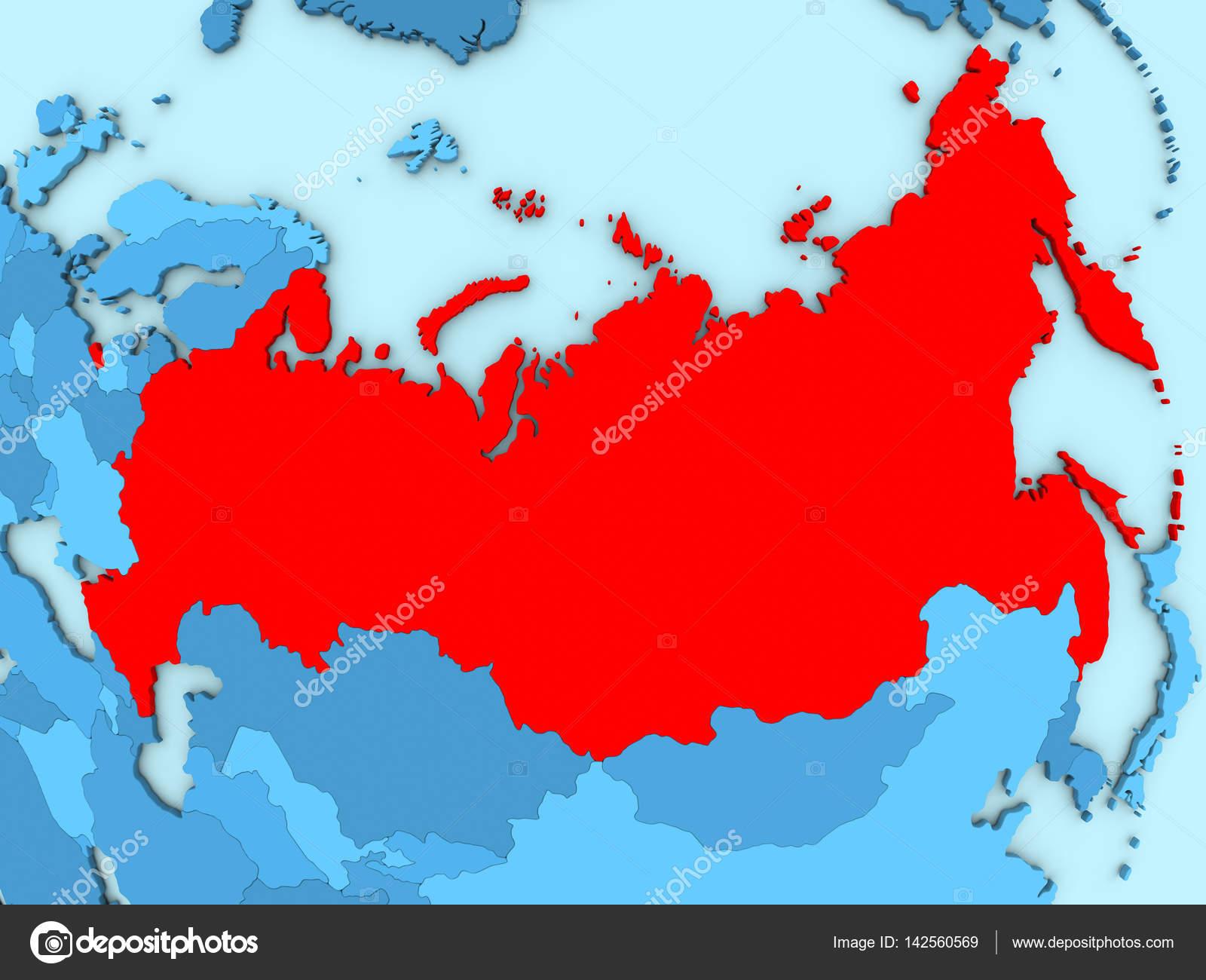 俄罗斯突出显示为红色蓝色地图上的国家.3d 图– 图库图片