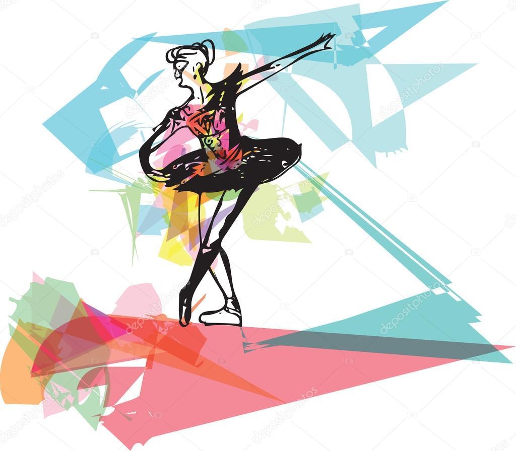Disegno di dancing astratto della ballerina — Vettoriale Stock ...