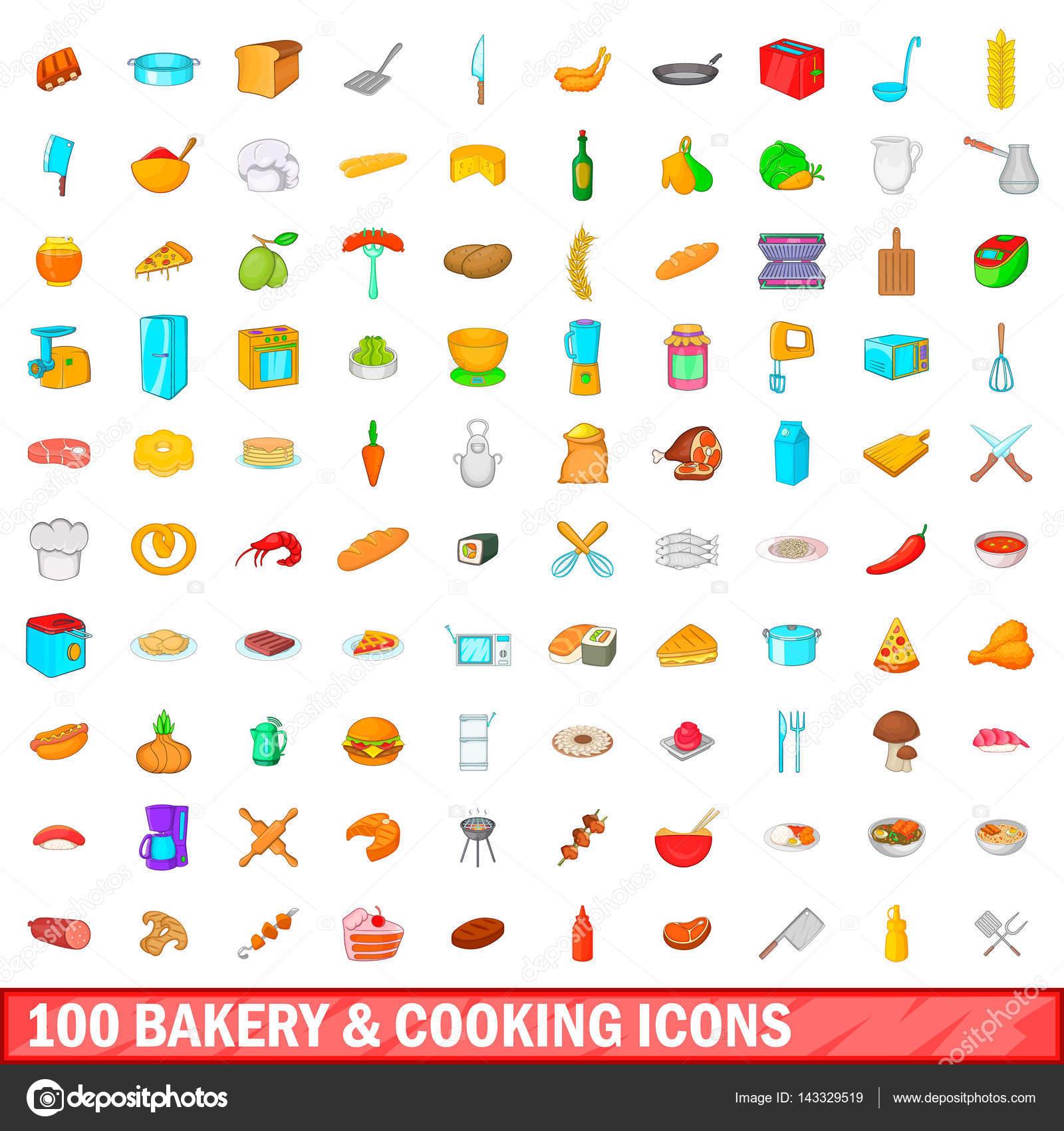 100 面包店和烹饪图标设置在任何设计矢量图的卡通风格