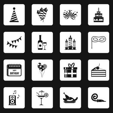 Happy Birthday icons set squares vector