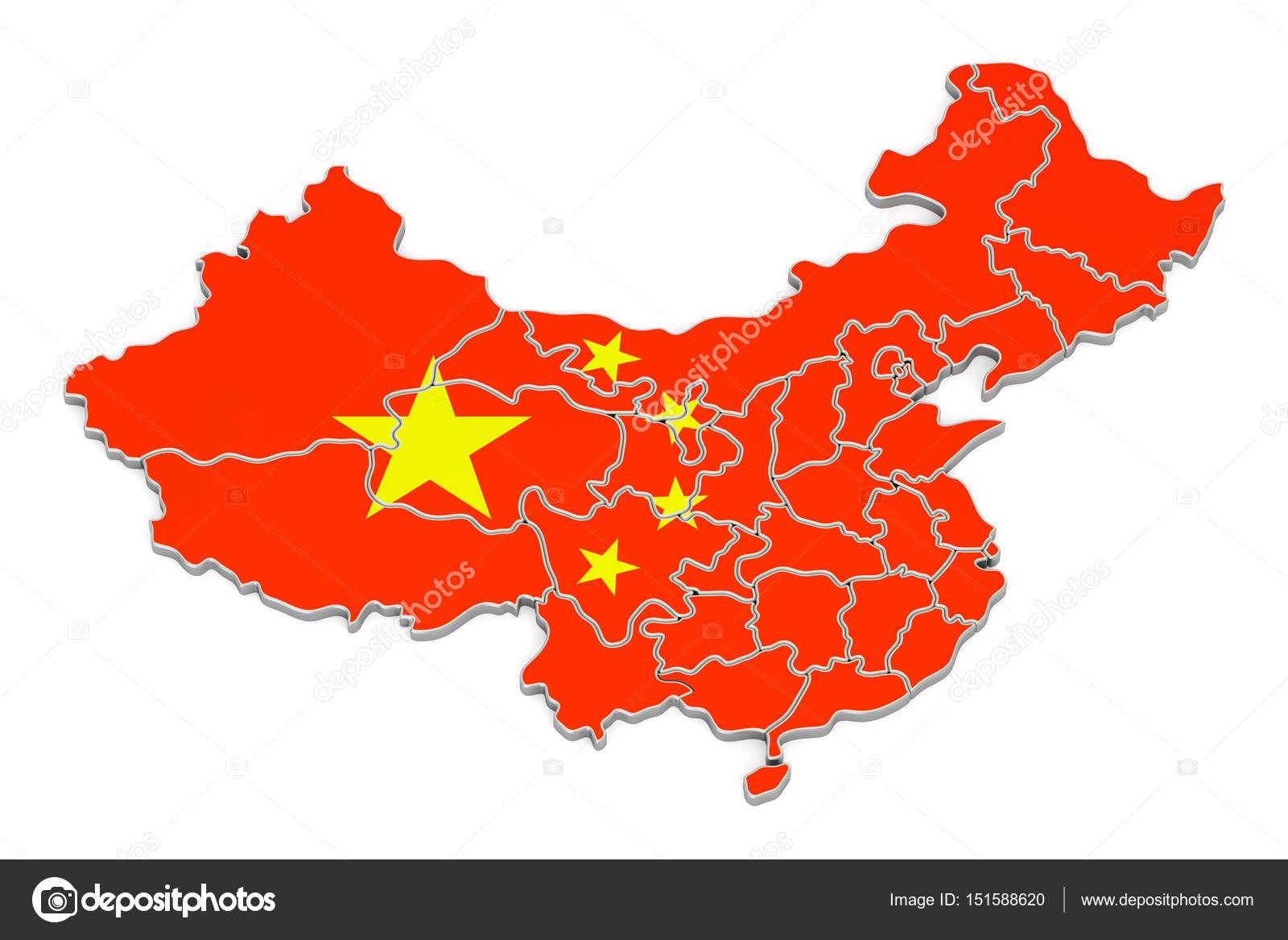 中国地图,3d 渲染