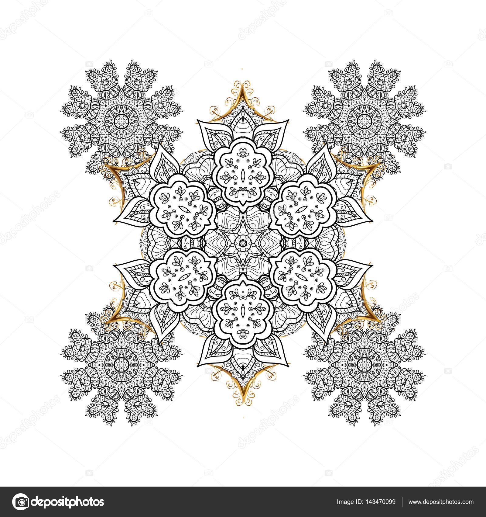 白色与金色元素颜色矢量冬天插画— vector by valera197615