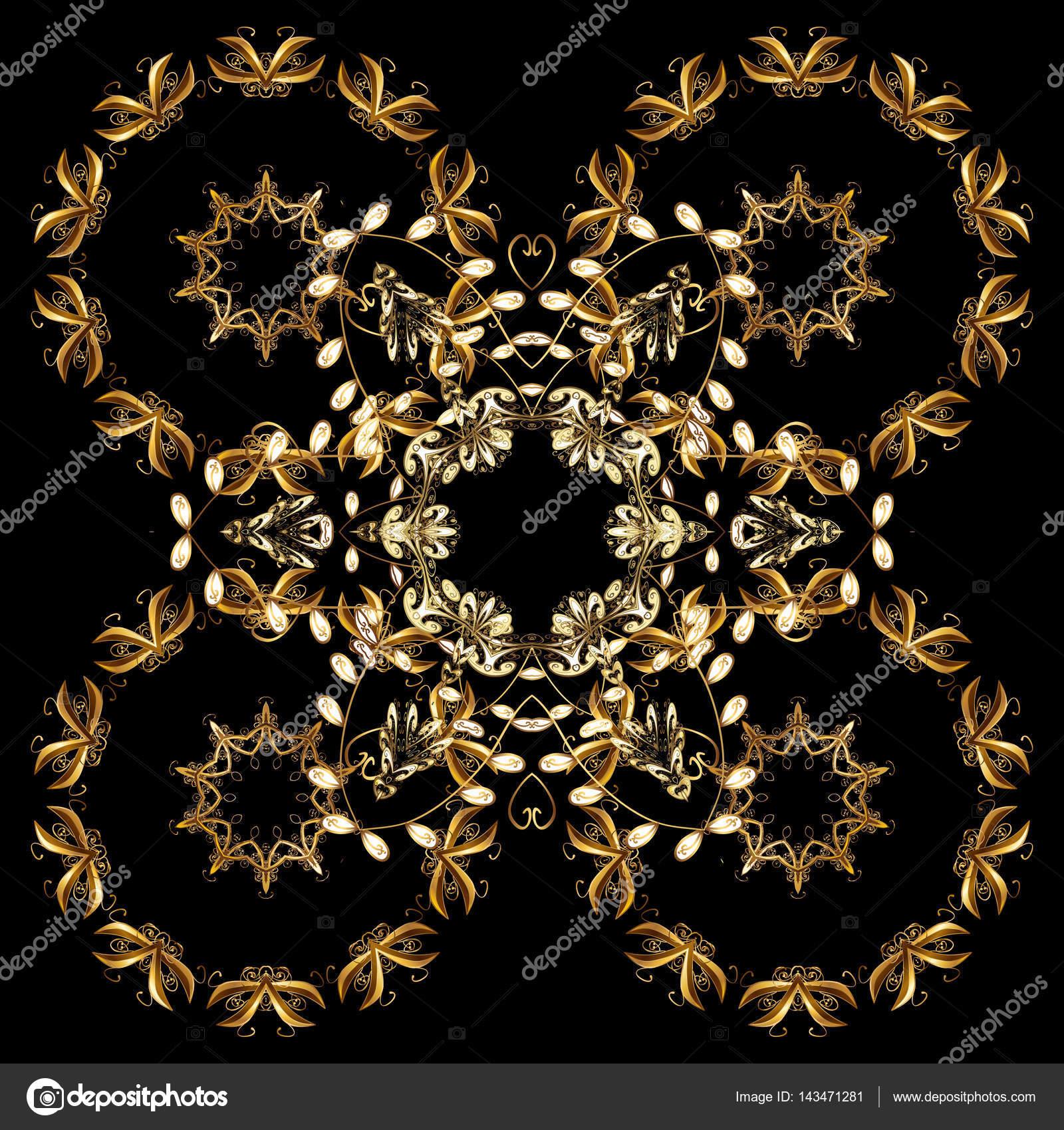 东方矢量经典黑色和金色花纹与白色涂鸦.抽象背景– 图库插图