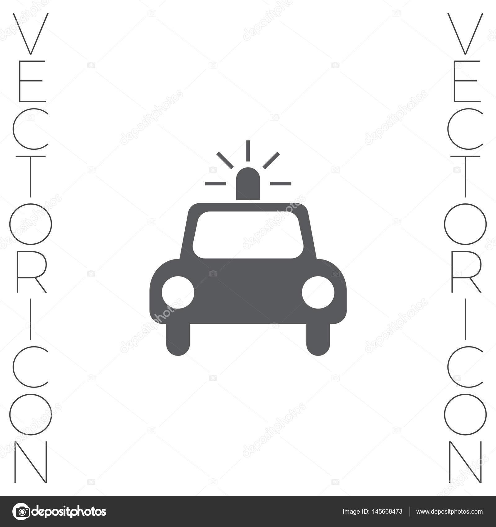 警察车矢量图标.cop 汽车标牌.安全车辆标志– 图库插图