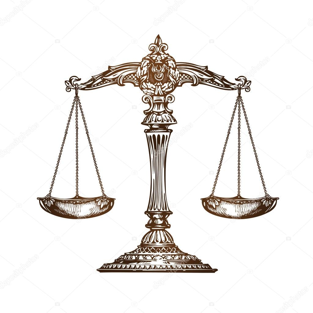 balanza de la justicia vector de dibujo vintage vector scales of justice vector download scales of justice vector free download