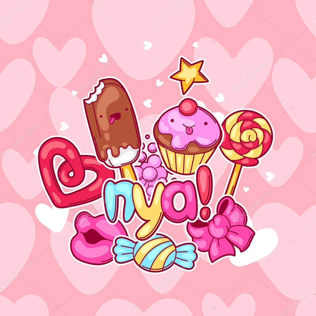 Fondo de kawaii con dulces y caramelos dulce locura cosas for Imagenes fondos animados