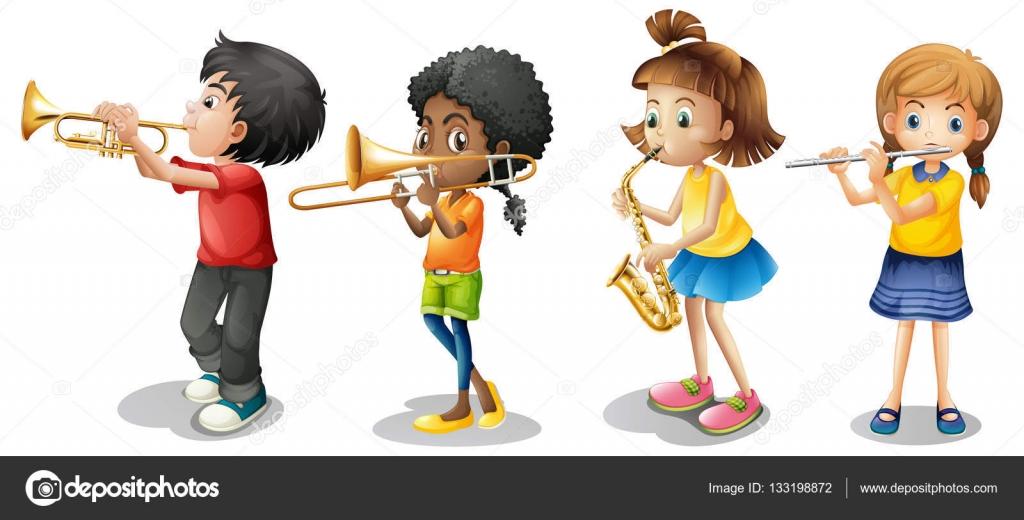 Niños tocando instrumentos musicales — Archivo Imágenes