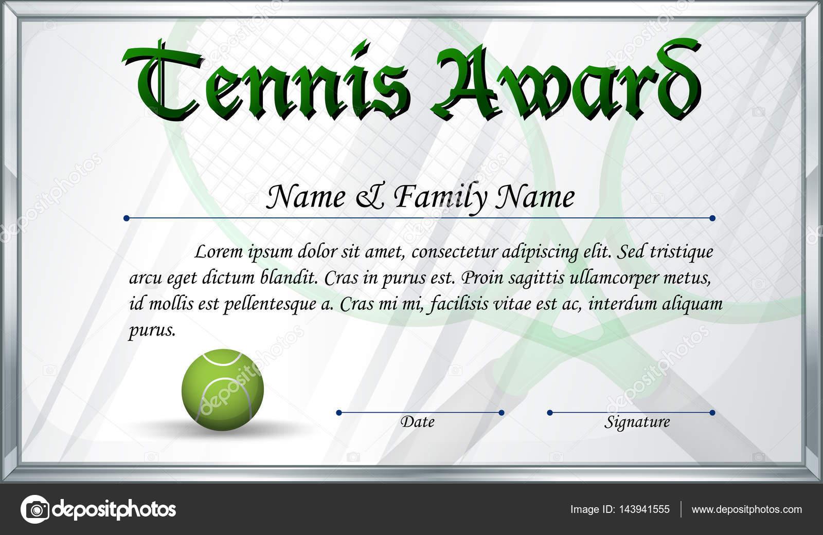 Tennis gift certificate template