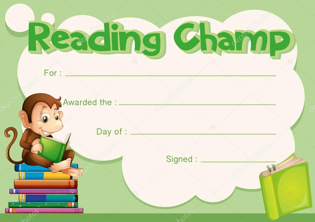 Reading Certificate Template