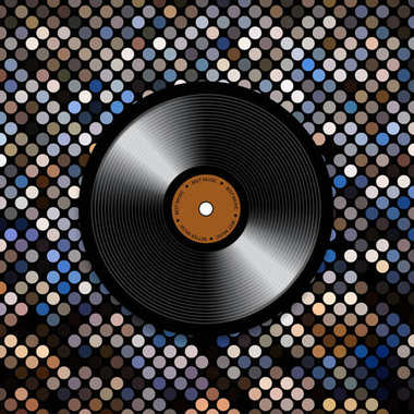 Abstract musical background with vinyl record disk. Template for music flyer, poster, brochure