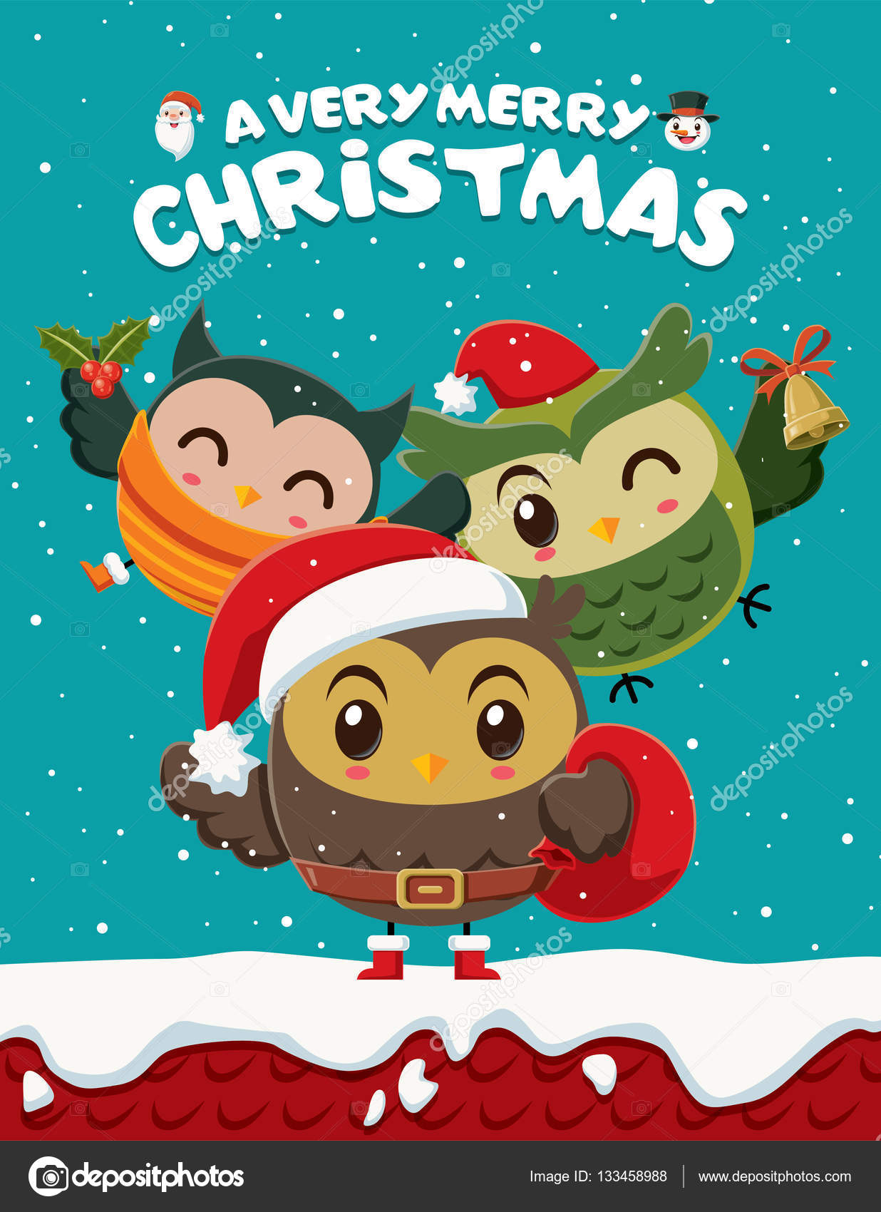 Xmas poster design - Vintage Christmas Poster Design With Owls Characters Stock Vector 133458988