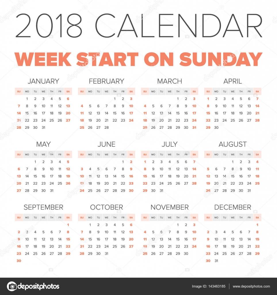 简单2018 年的日历,每周从星期一开始– 图库插图