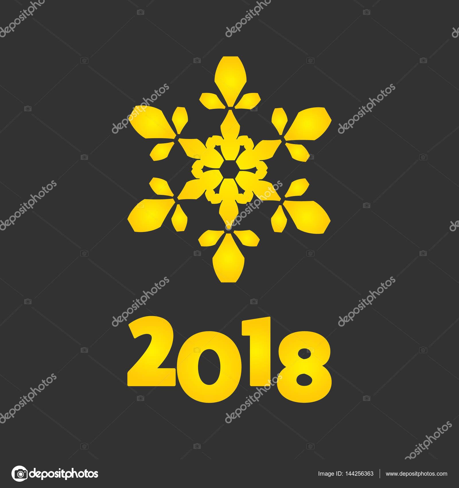 新年快乐 2018 金色旗帜上黑– 图库插图