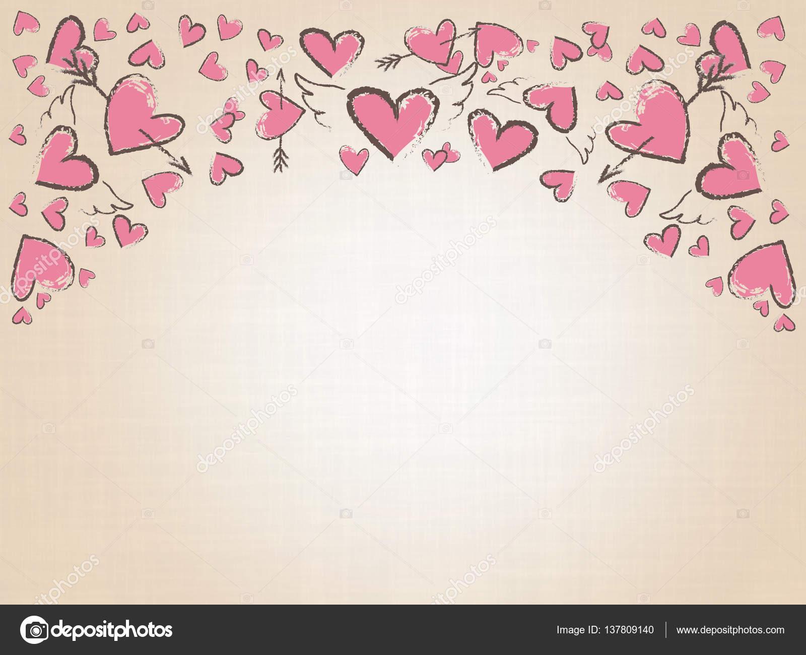 Fondo De Pantalla Dia De San Valentin Regalo Con Rosa: Hermoso Amor Corazones Sobre Fondo Vintage. Fondo De San