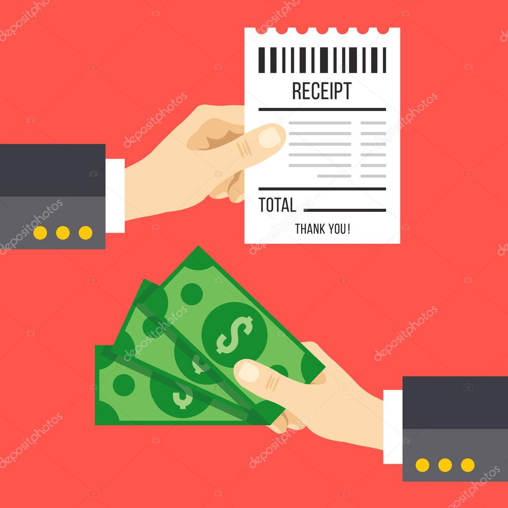 Hand holding receipt and hand holding money Pay a bill with cash – Money Receipt Design