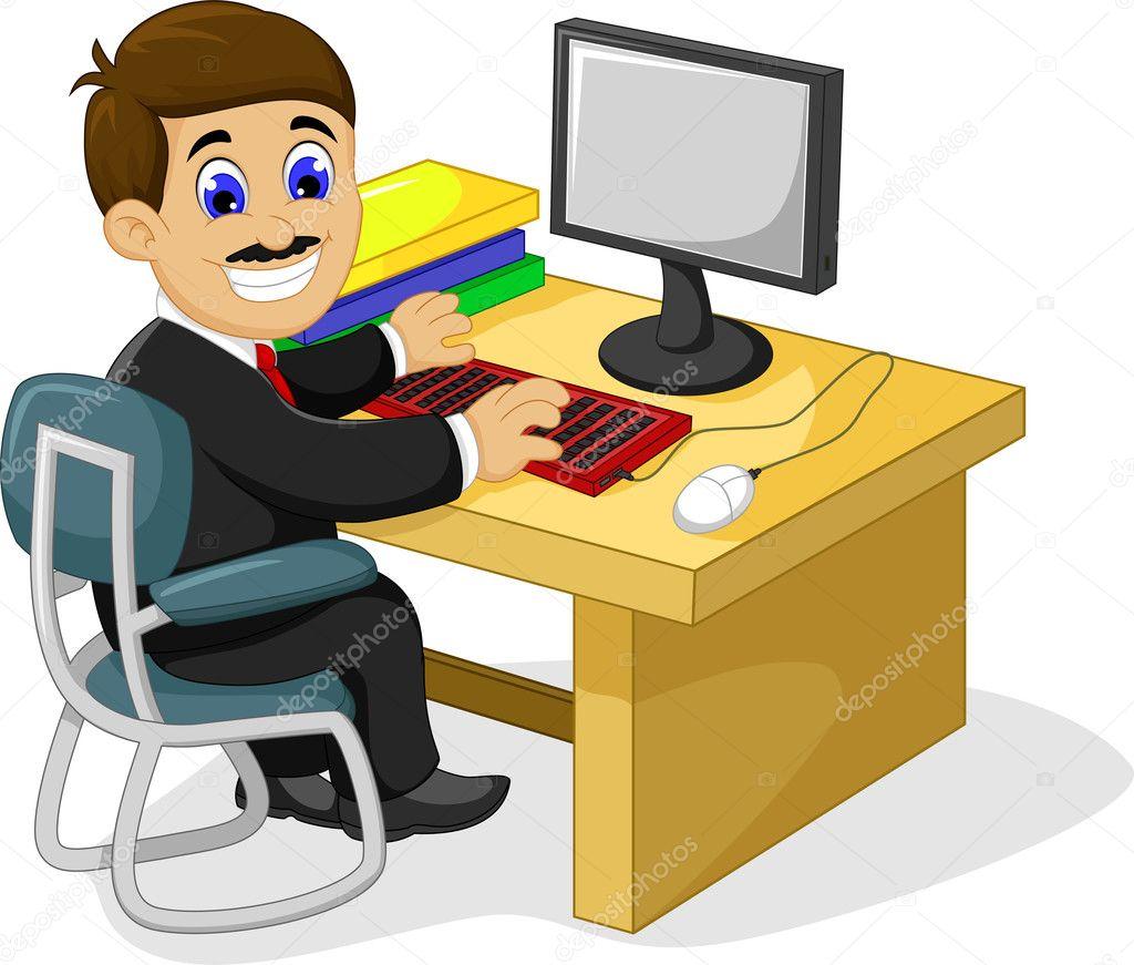 Computer Office Desk Dibujos Animados Divertido Empresario Trabajando En Su
