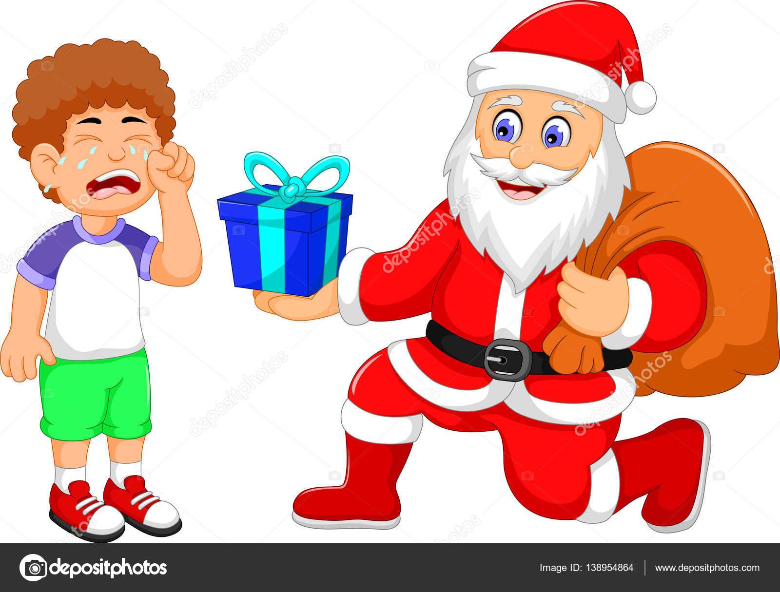 Divertidos dibujos animados de santa claus dando un regalo - Un santa claus especial ...