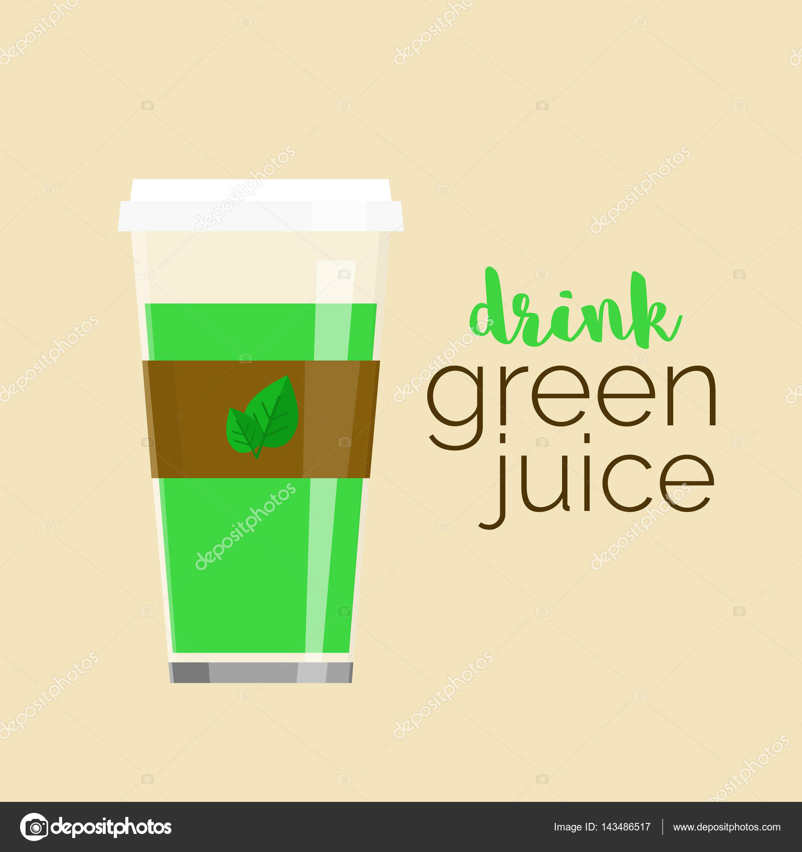 Glass juice cups design - Cup Of Green Juice Glass With Healthy Green Juice With Sample Text Reusable Travel Cup To Go Vector Illustration For Your Design Stock Illustration