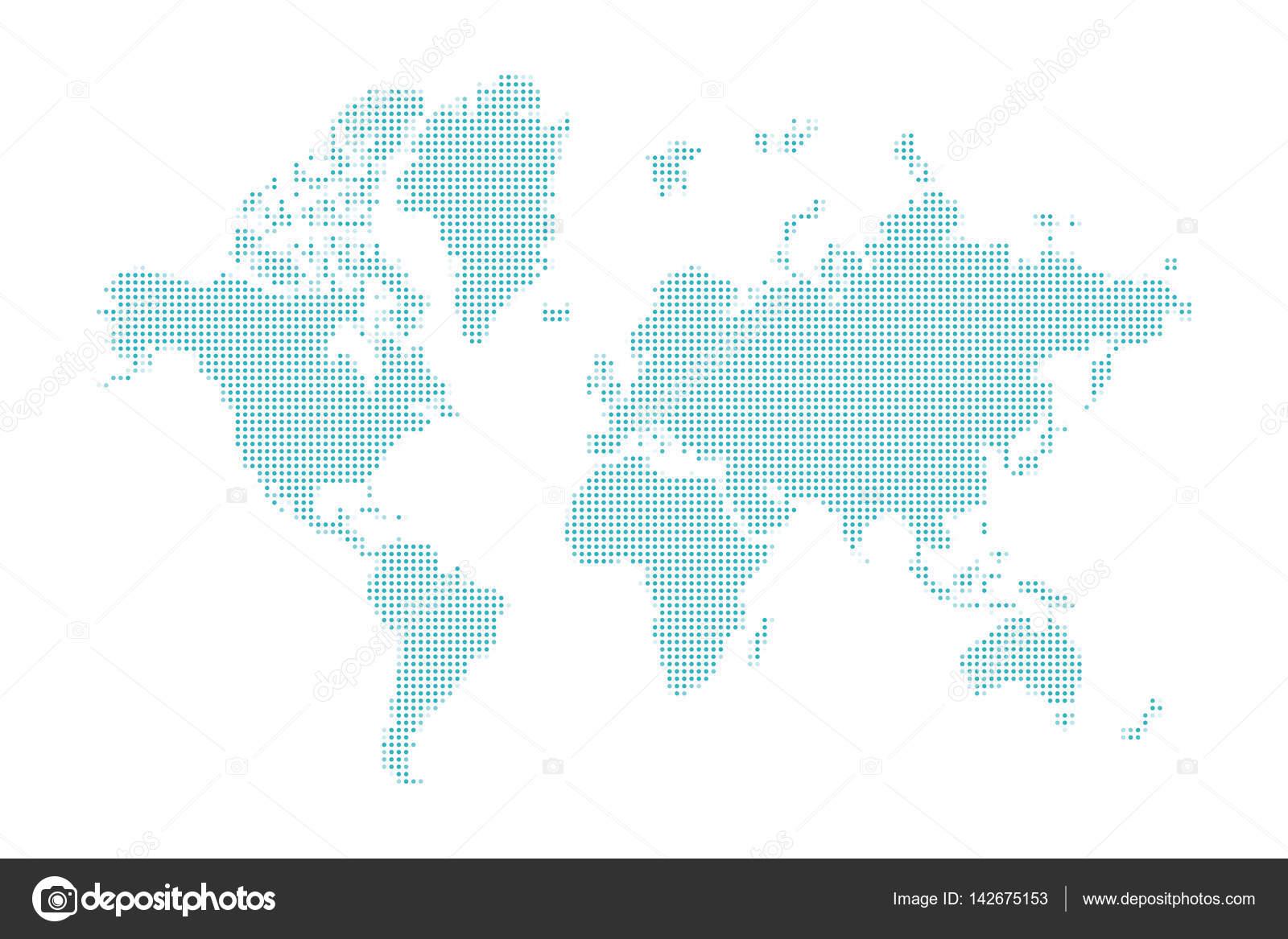 蓝色虚线的世界地图,在白色背景上的矢量设计元素– 图库插图