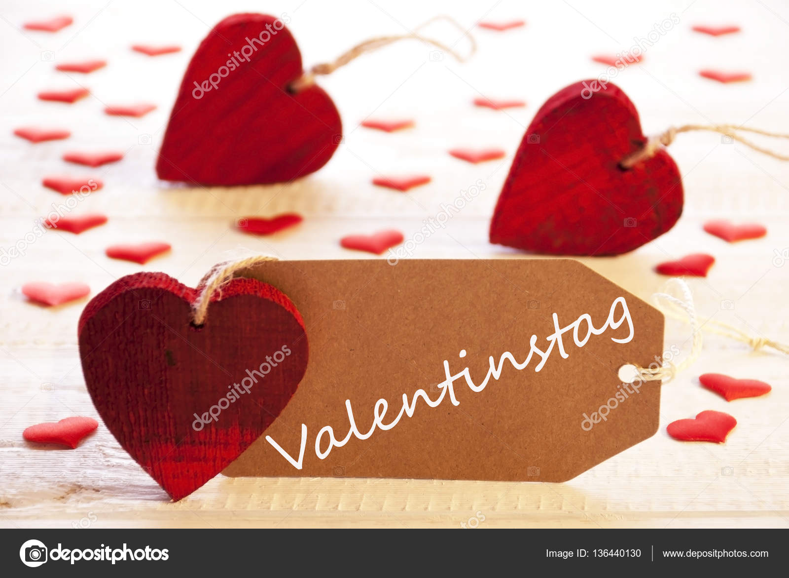 Label With Red Heart, Valentinstag Means Valentines Day — Stock ...