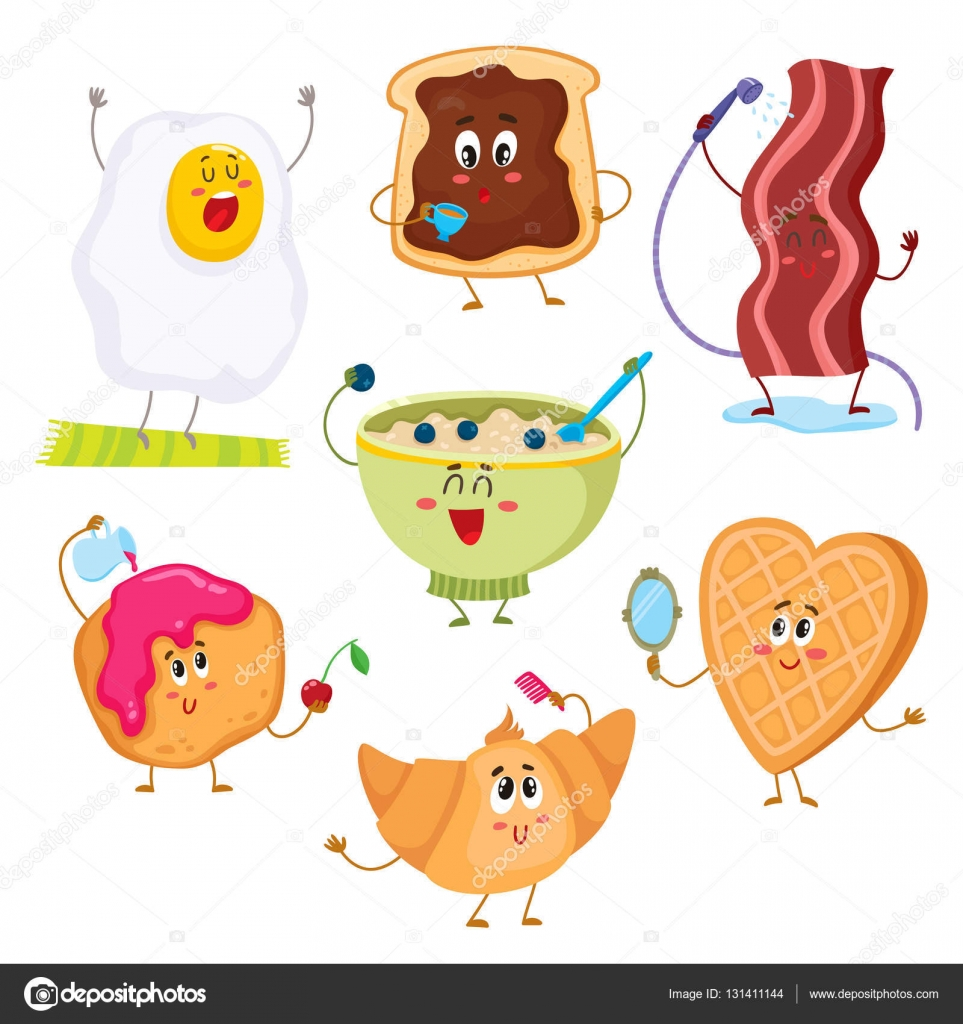 set of cute and funny cartoon breakfast characters stock breakfast food clipart clipart breakfast food pictures