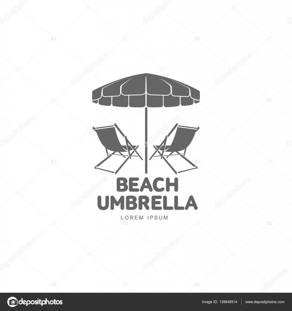 Beach Umbrella And Chair Black And White - Logo template with beach umbrella and sun bathing lounge chair vector illustration isolated on white background black and white graphic logotype