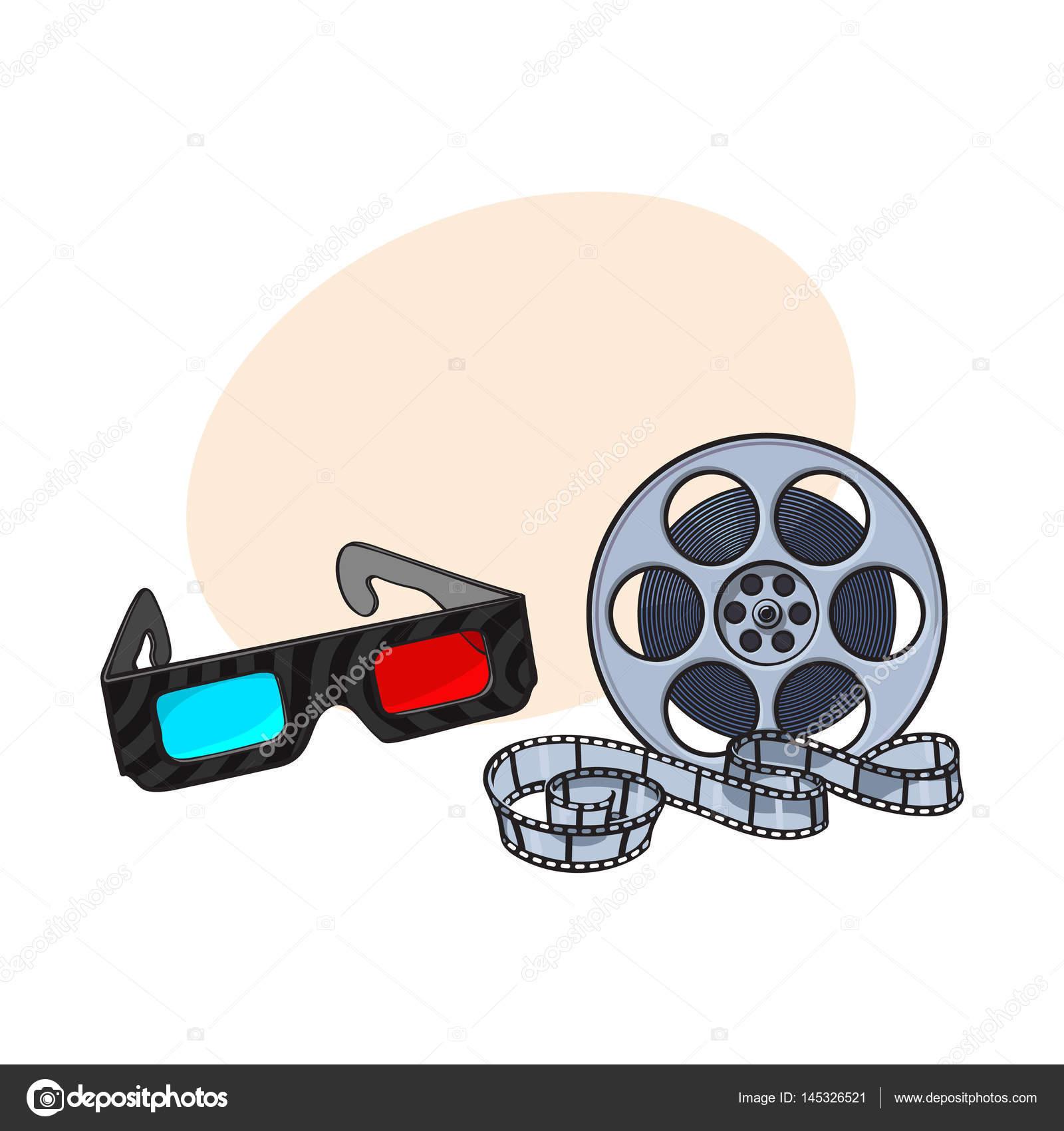 蓝色和红色立体 3d 眼镜,电影胶片卷轴,电影票,素描矢量图和文本的